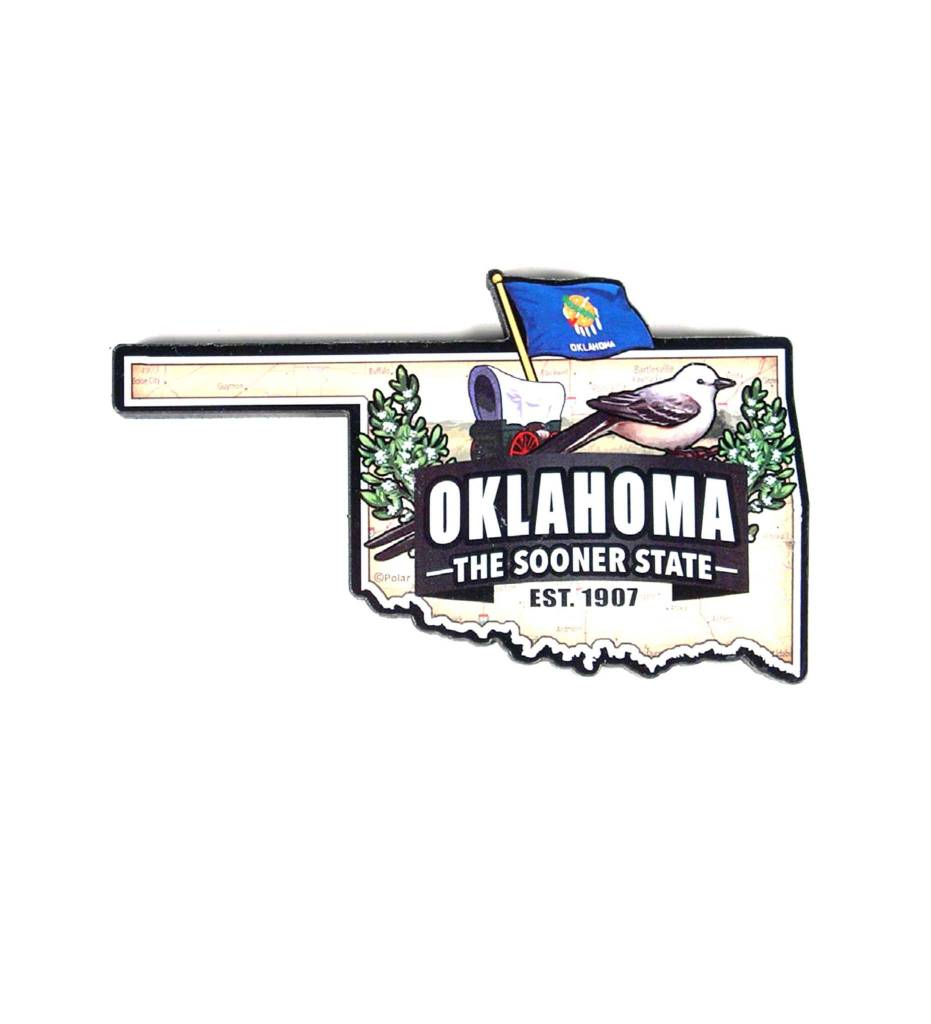 OKLAHOMA STATE ART WOOD MAP MAGNET