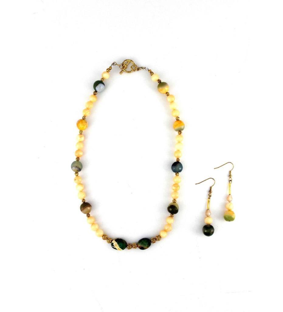*JM Yellow & Green Bead Necklace & Earrings Set