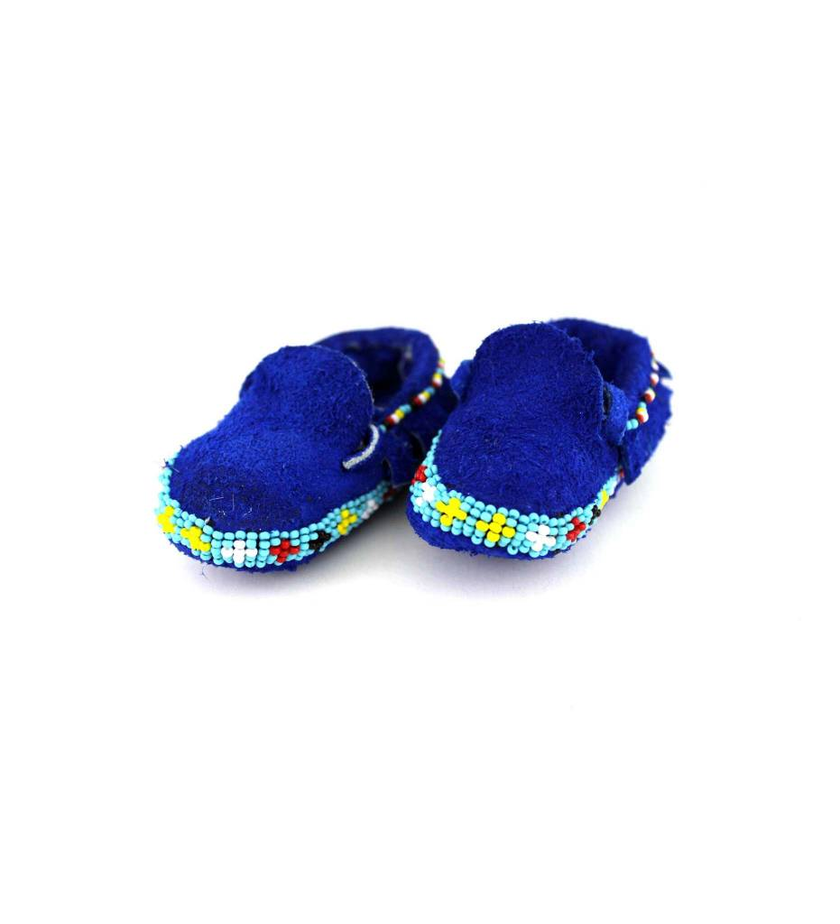 *MW BLUE BABY BEADED MOCCASINS