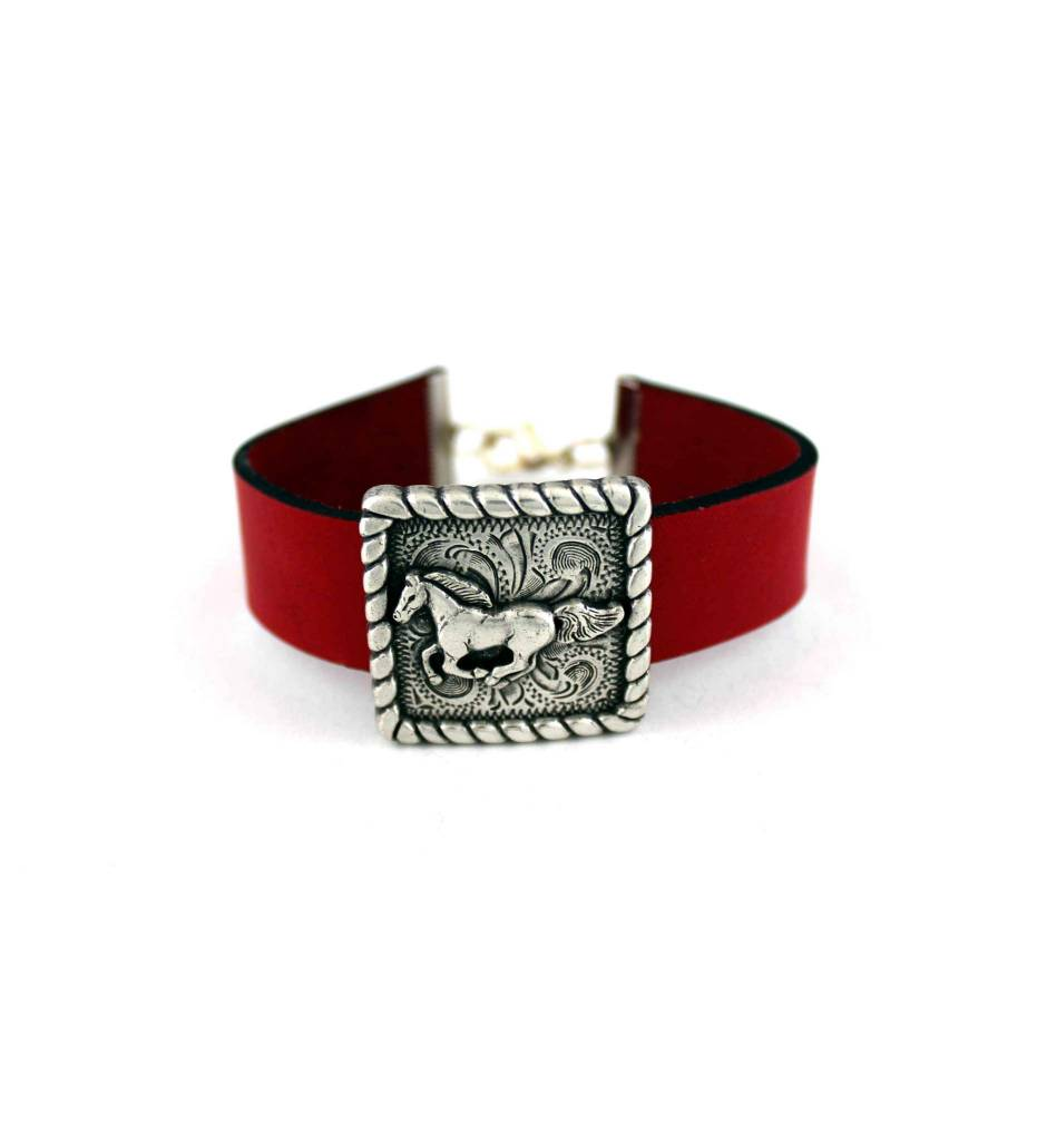 *JM Red Leather Bracelet with Horse Pendant