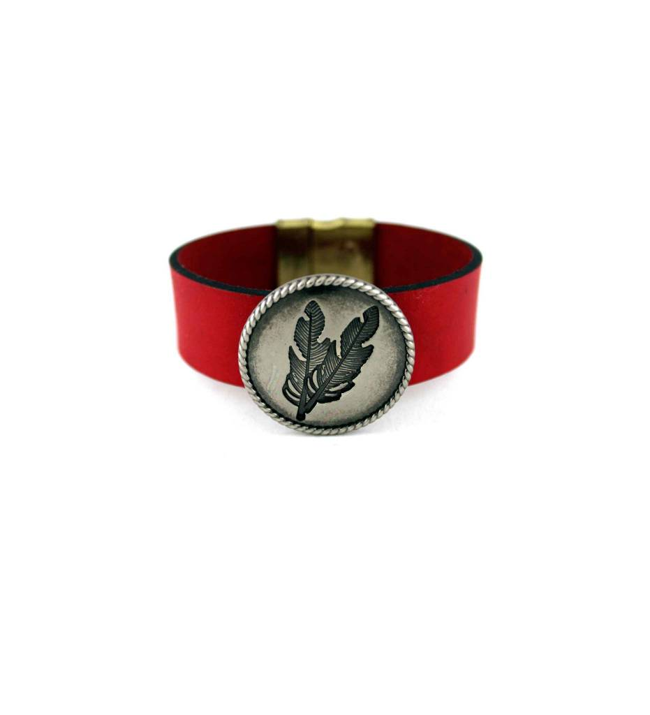 *JM Red Leather Bracelet with 2 Feathers on Round Pendant