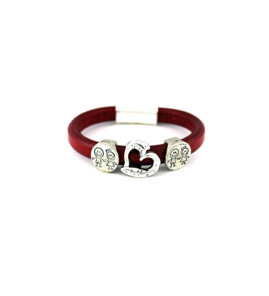*JM Red Leather Bracelet with Kids Pendant