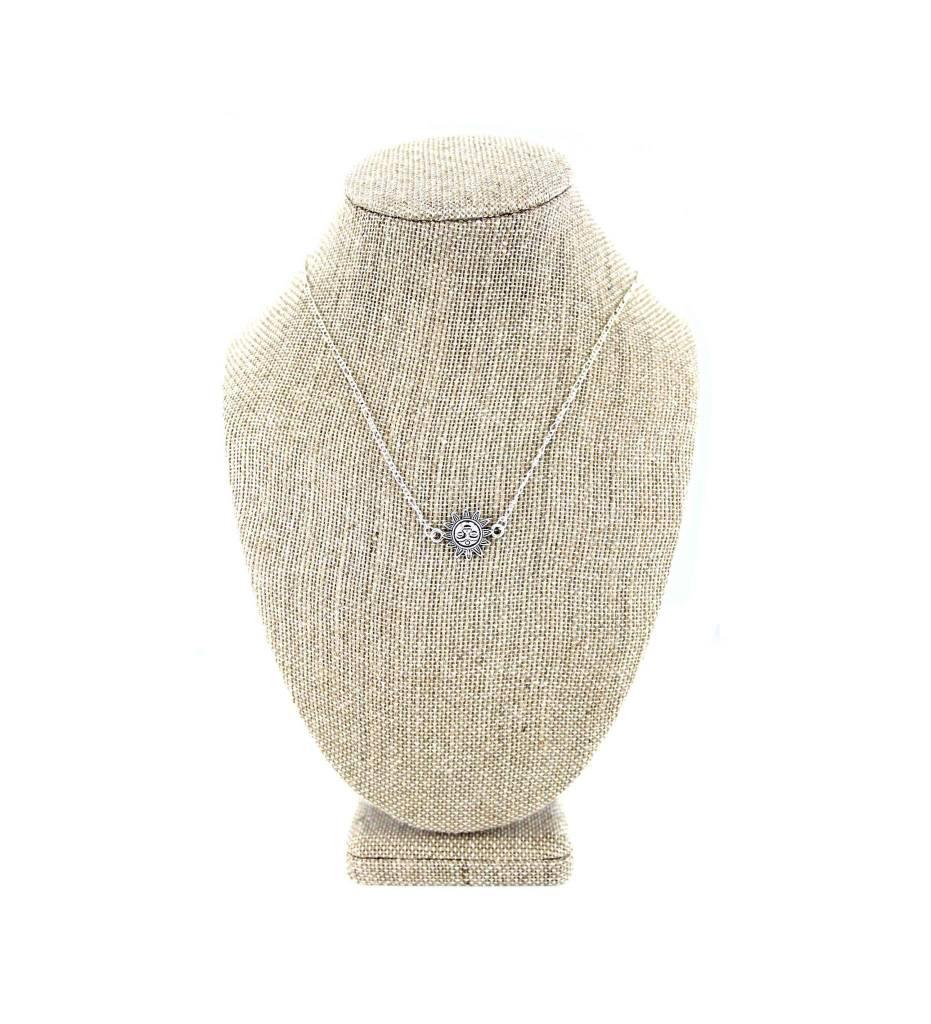 *JM Silver Necklace with Sun Pendant
