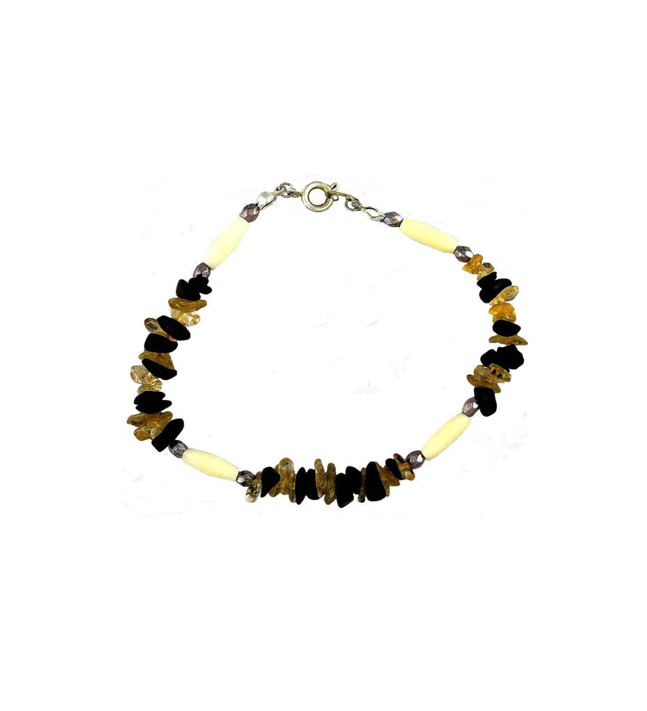 *BG Black, Clear & Bone Beaded Bracelet