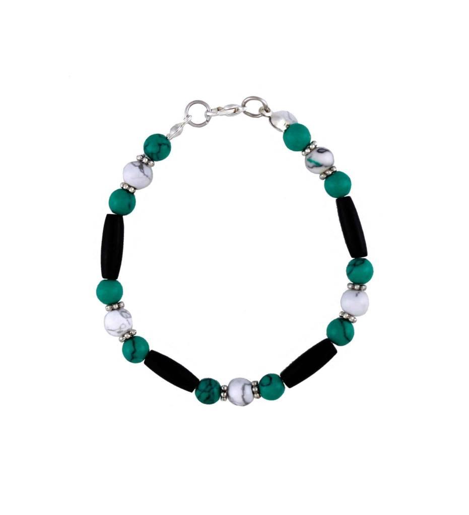 *BG Turquoise, White & Black Bone Beaded Bracelet