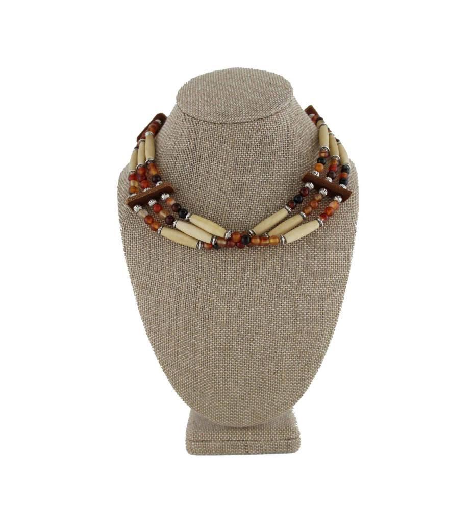 *BG 3 Strand Bone & Multi Colored Beads Choker Necklace