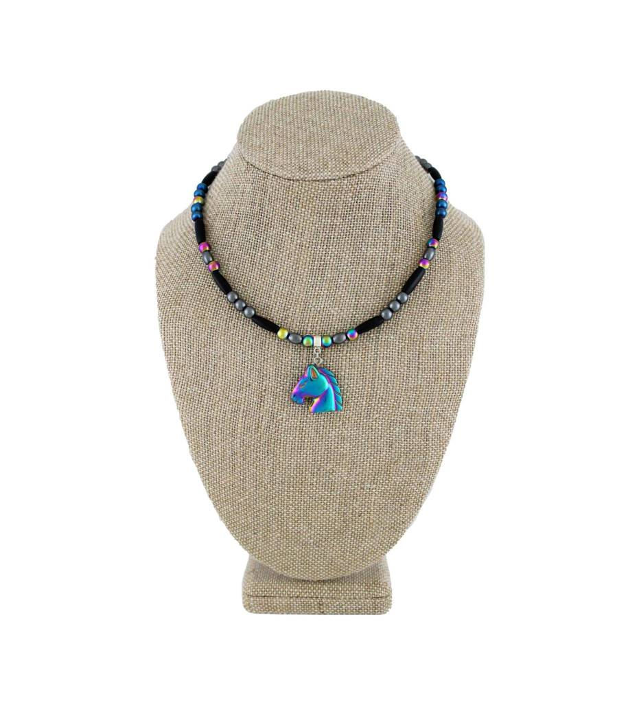 *BG Hematite Horse Head Pendant with Multi Color Beaded Necklace