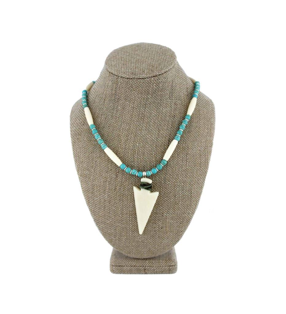 *BG White Bone Arrowhead Pendant with Bone & Turquoise Beads Necklace