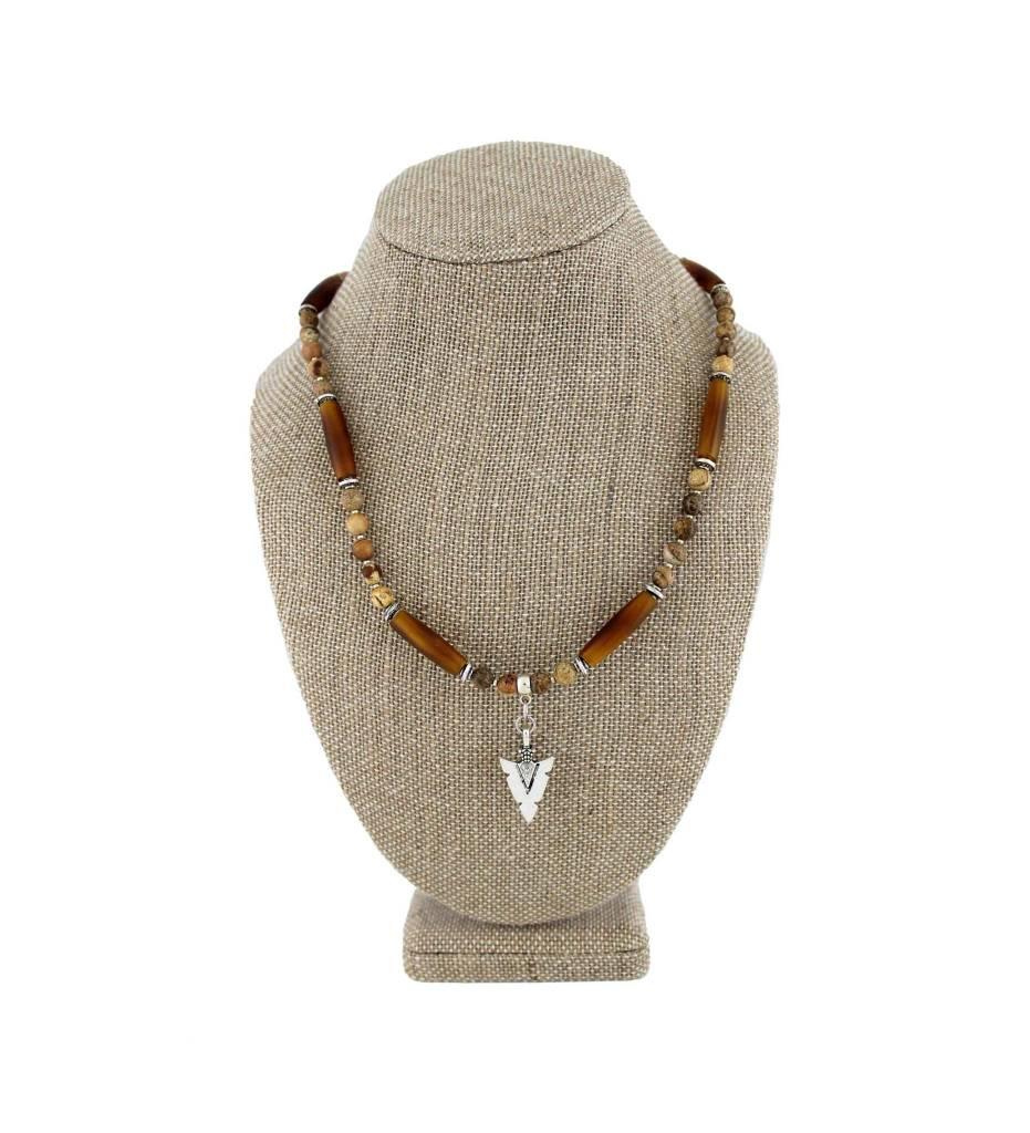 *BG Silver Arrowhead Pendant with Brown Bone & Beads Necklace