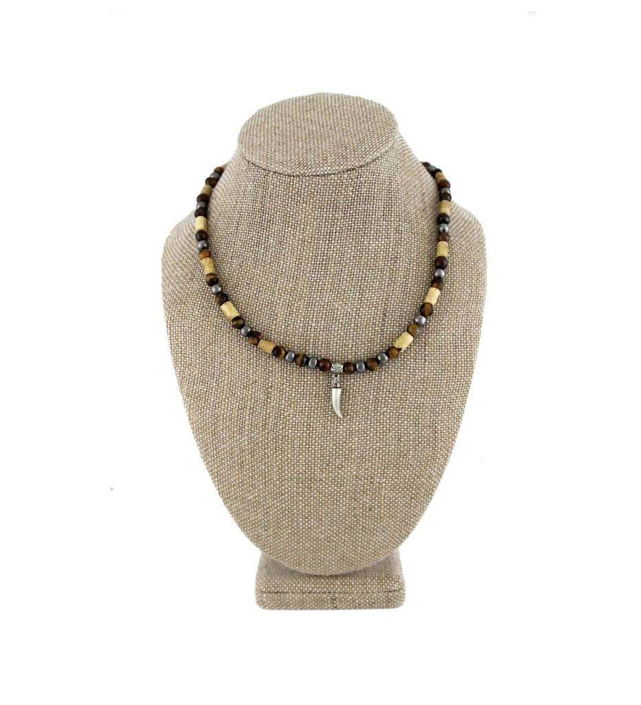 *BG Silver Horn Pendant with Brown Bone & Beads Necklace