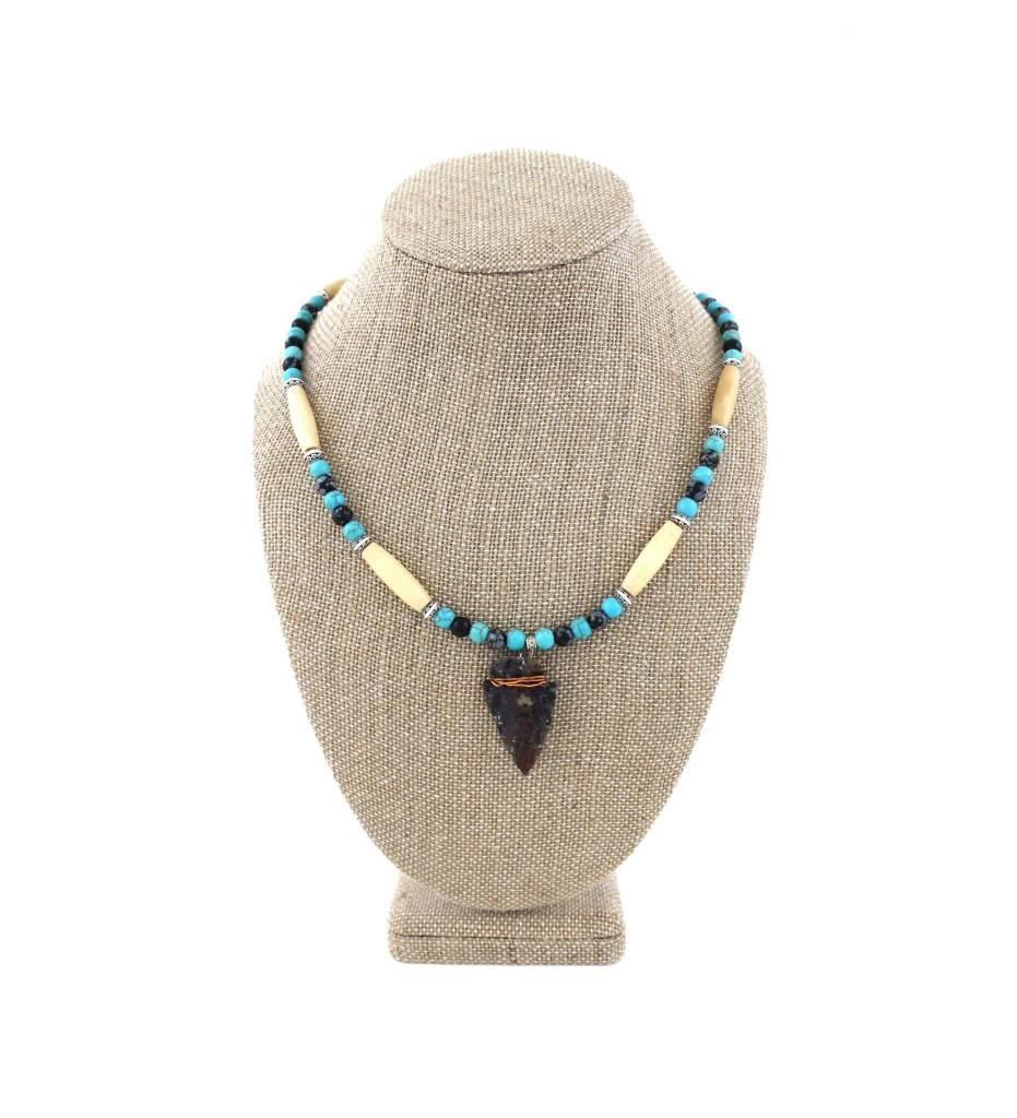 "*BG Arrowhead Pendant with Bone & Blue Beads Necklace 20"""