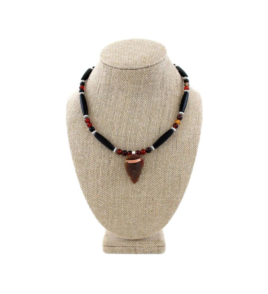 "*BG 18"" Arrowhead Pendant with Black Bone & Beads Necklace"