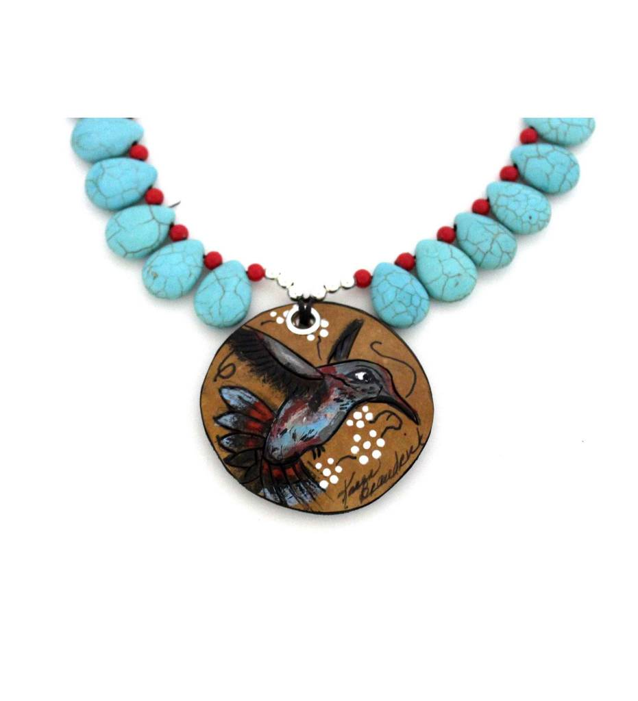 *KB Gourd Art Hummingbirds Necklace
