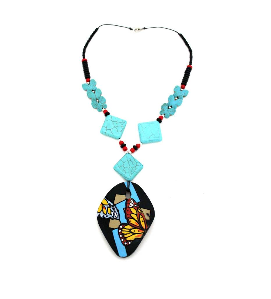 *KB Gourd Art Butterfly Necklace