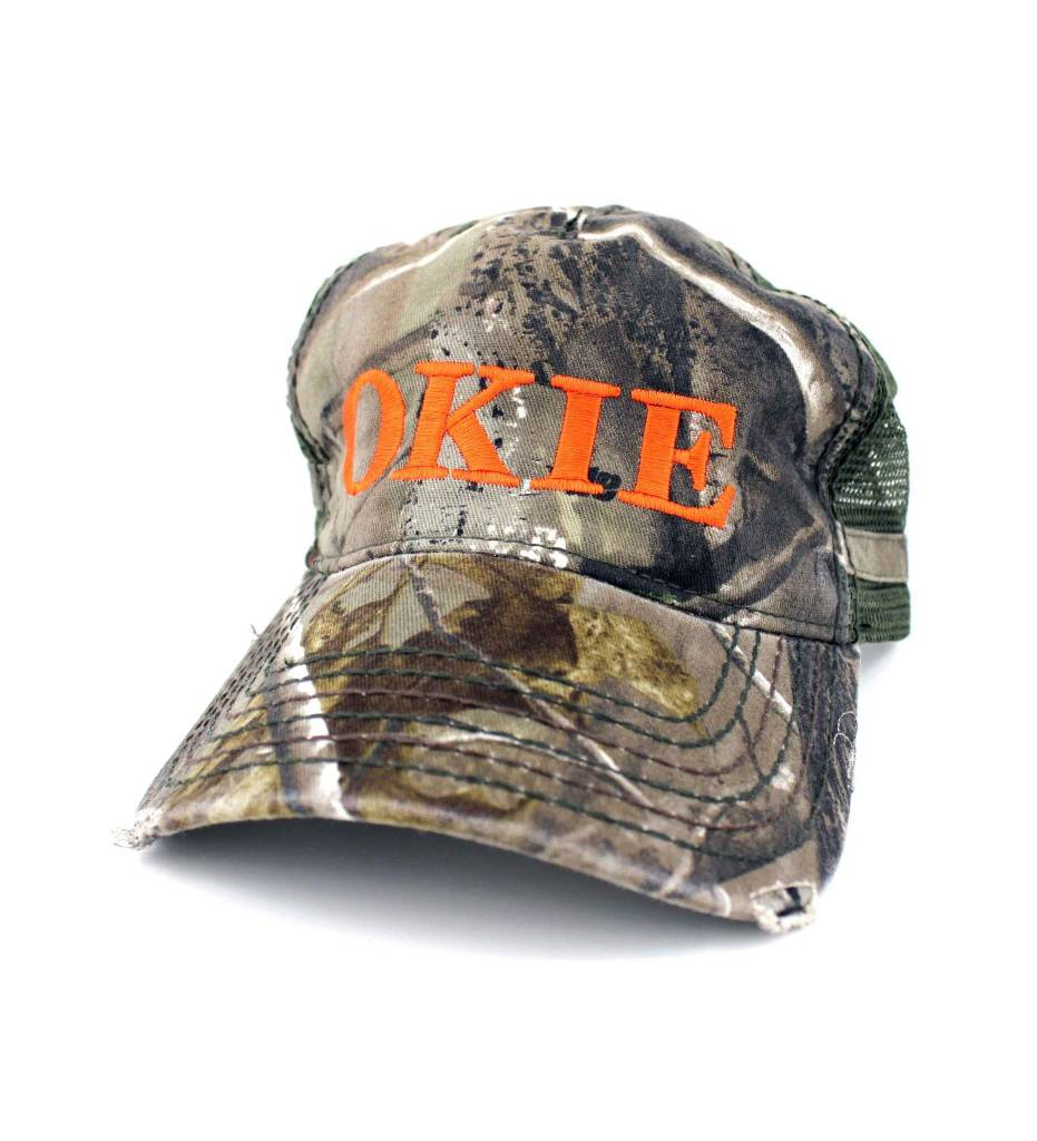 """OKIE"" Camo & Orange Cap"