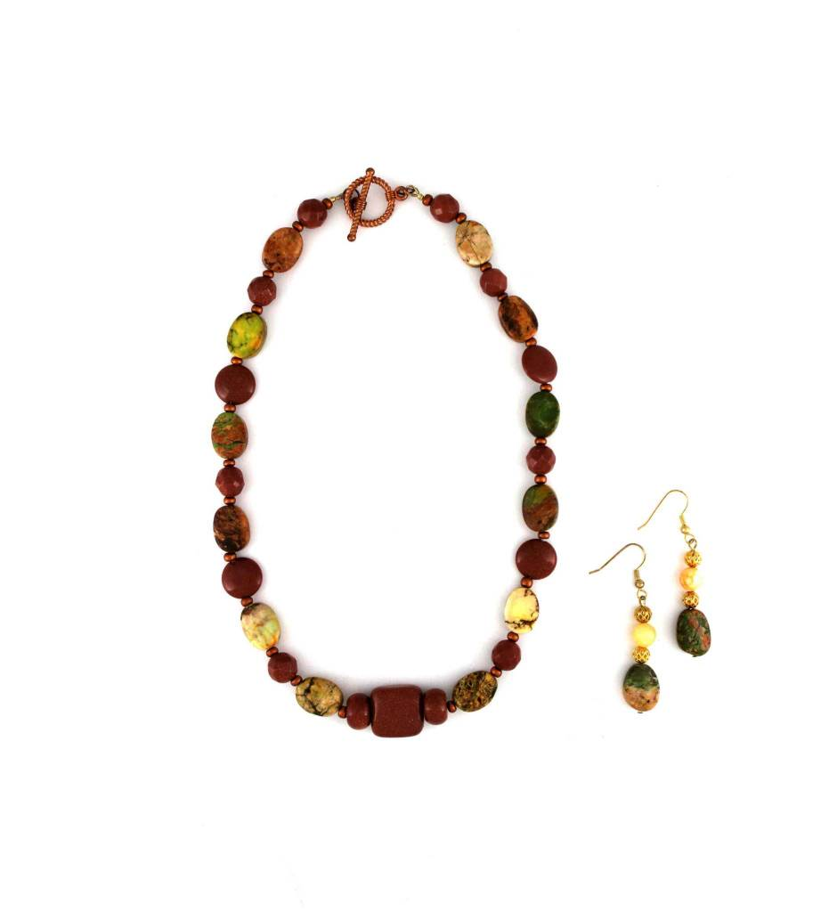 *JM Gold Stone & Multi Bead Necklace & Earrings Set