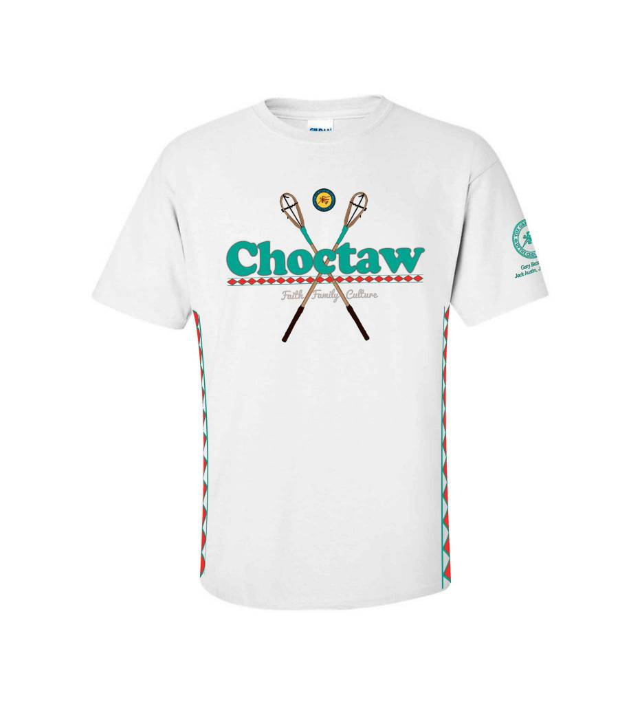 """Choctaw"" Faith, Family, Culture Stickball design WHITE T-Shirt ADULT"