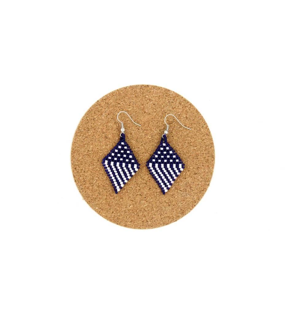 CM Beaded Navy Blue & White Diamond Shape Earrings