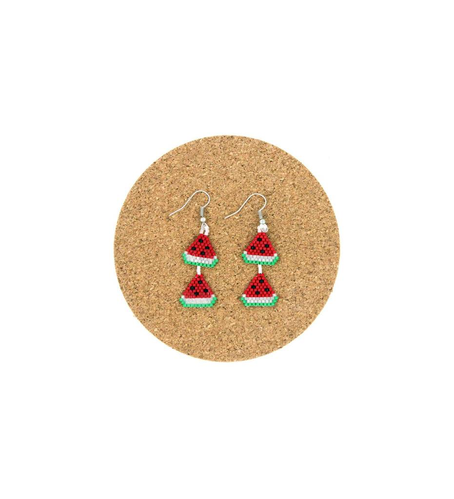 CM 2 Tier Beaded Watermelon Earrings