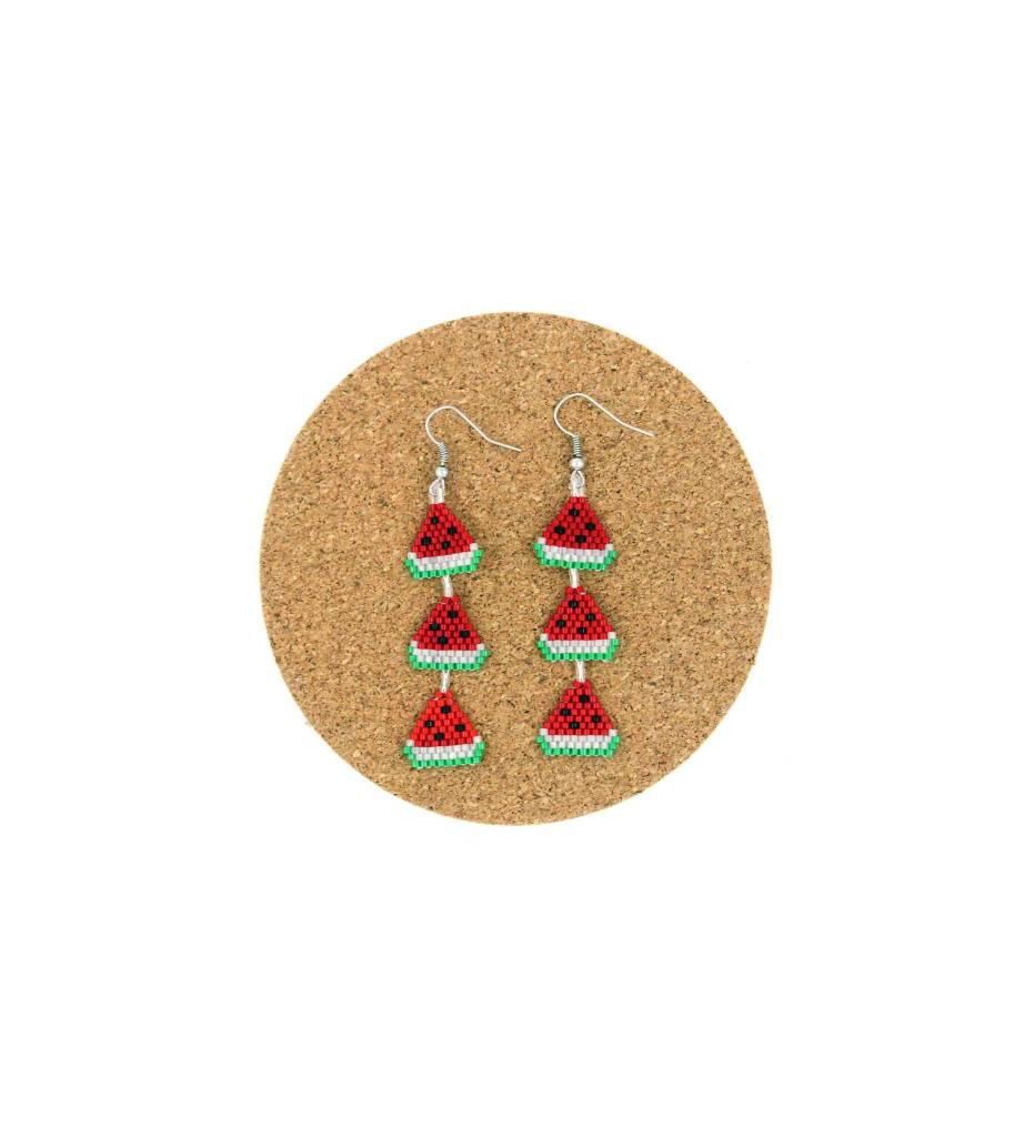 CM 3 Tier Beaded Watermelon Earrings
