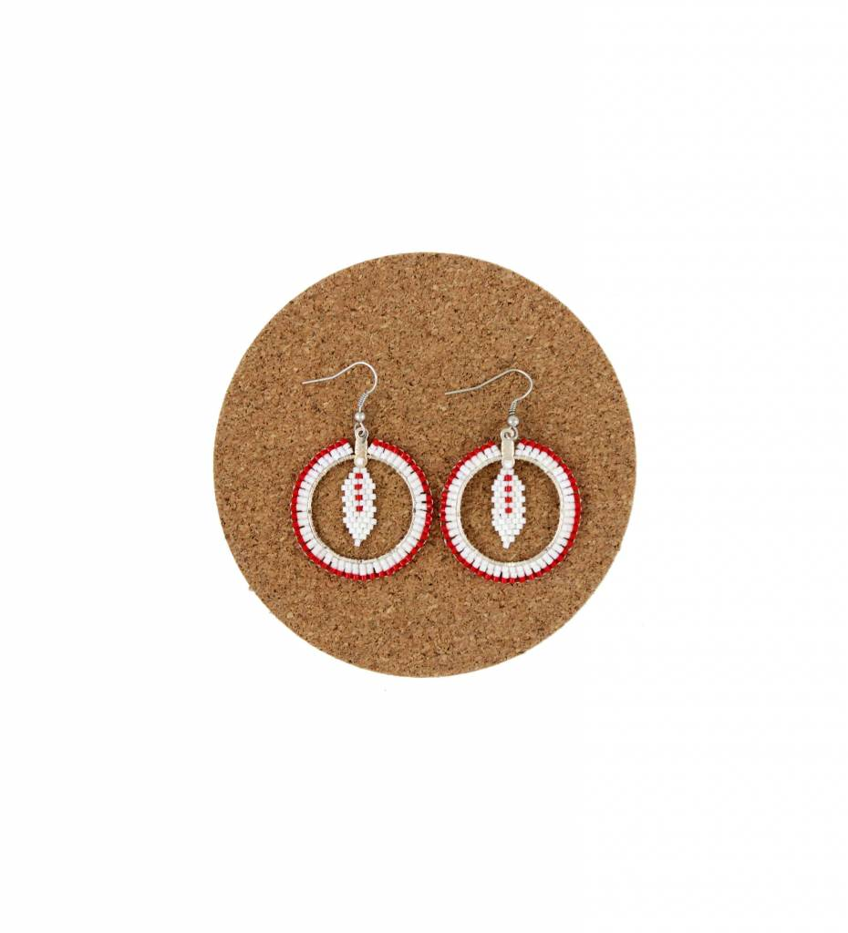 CM Red & White Beaded Round / Feather Earrings