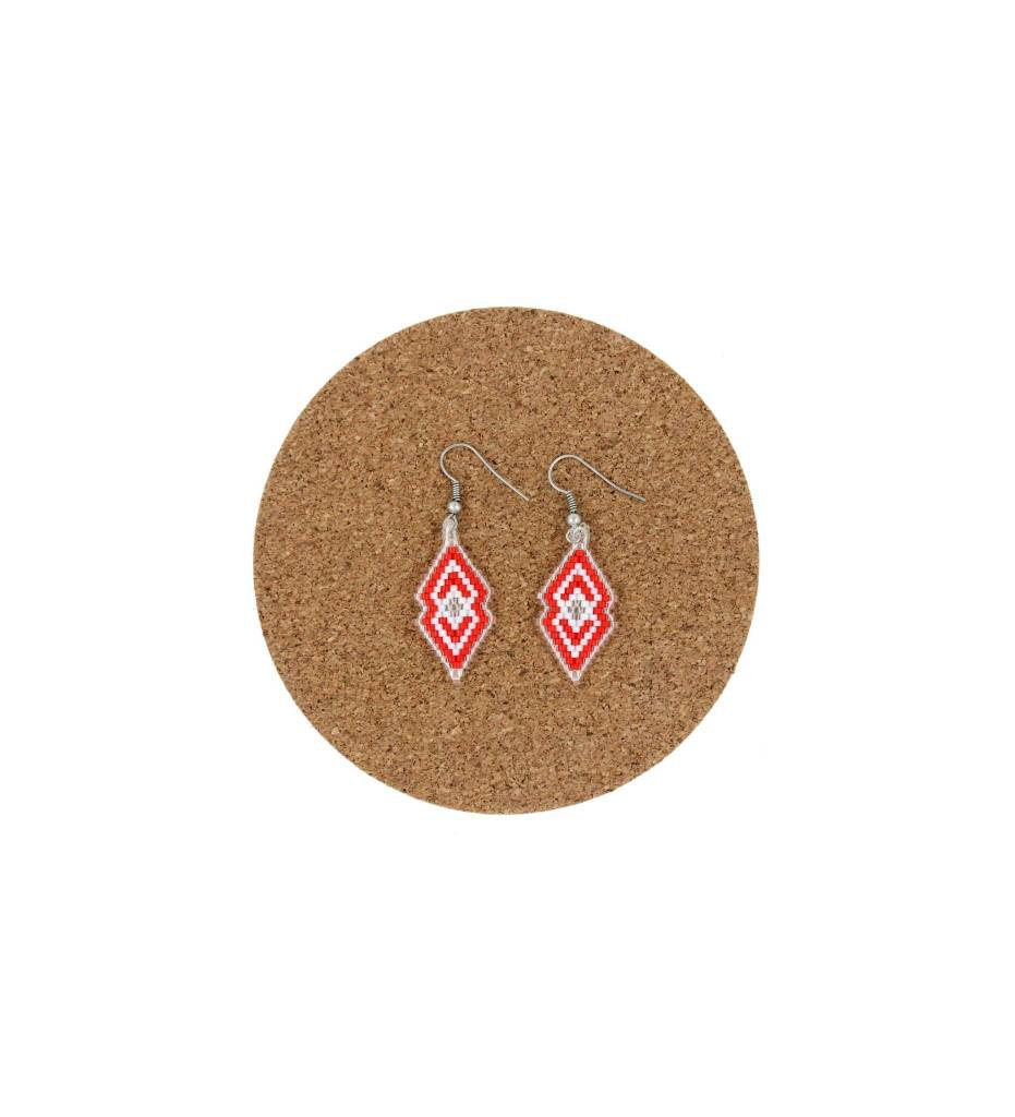 CM Red & White Beaded Double Diamond Shape Earrings