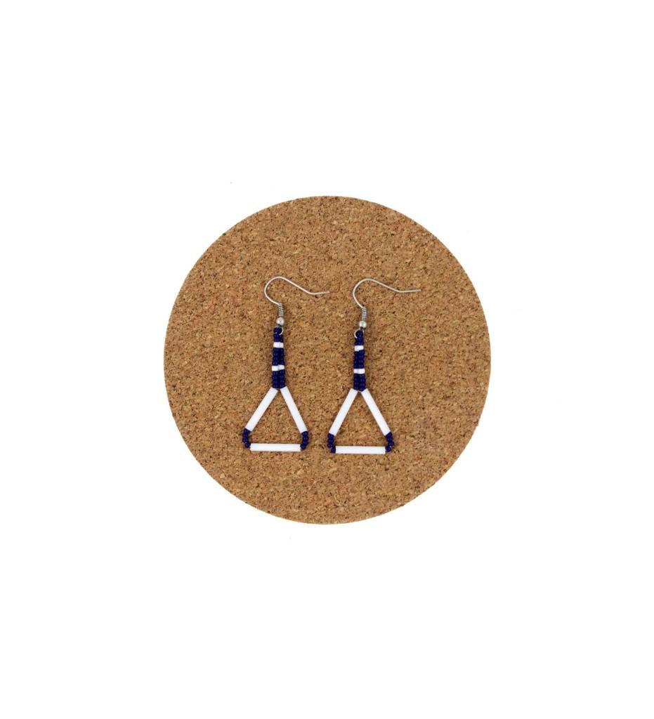 CM Stringed Beaded Diamond Shape Earrings