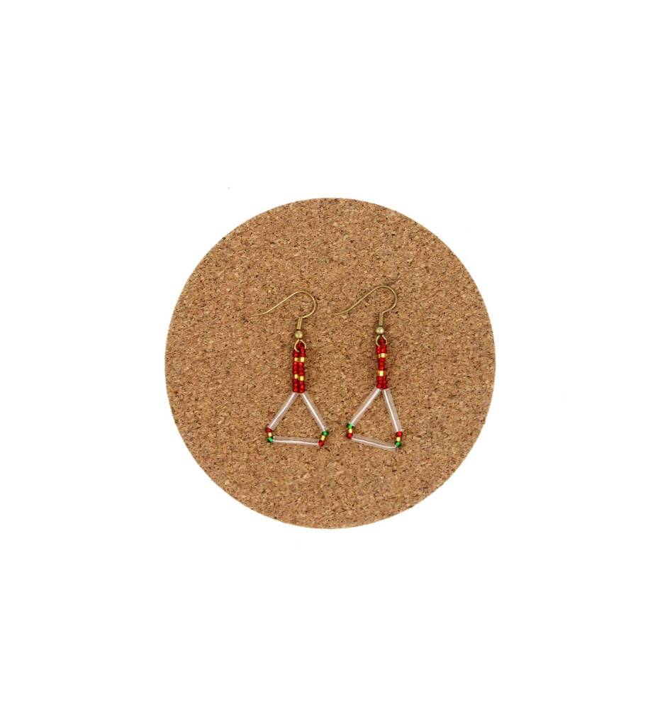 CM Stringed Beaded Diamond Shape Earrings