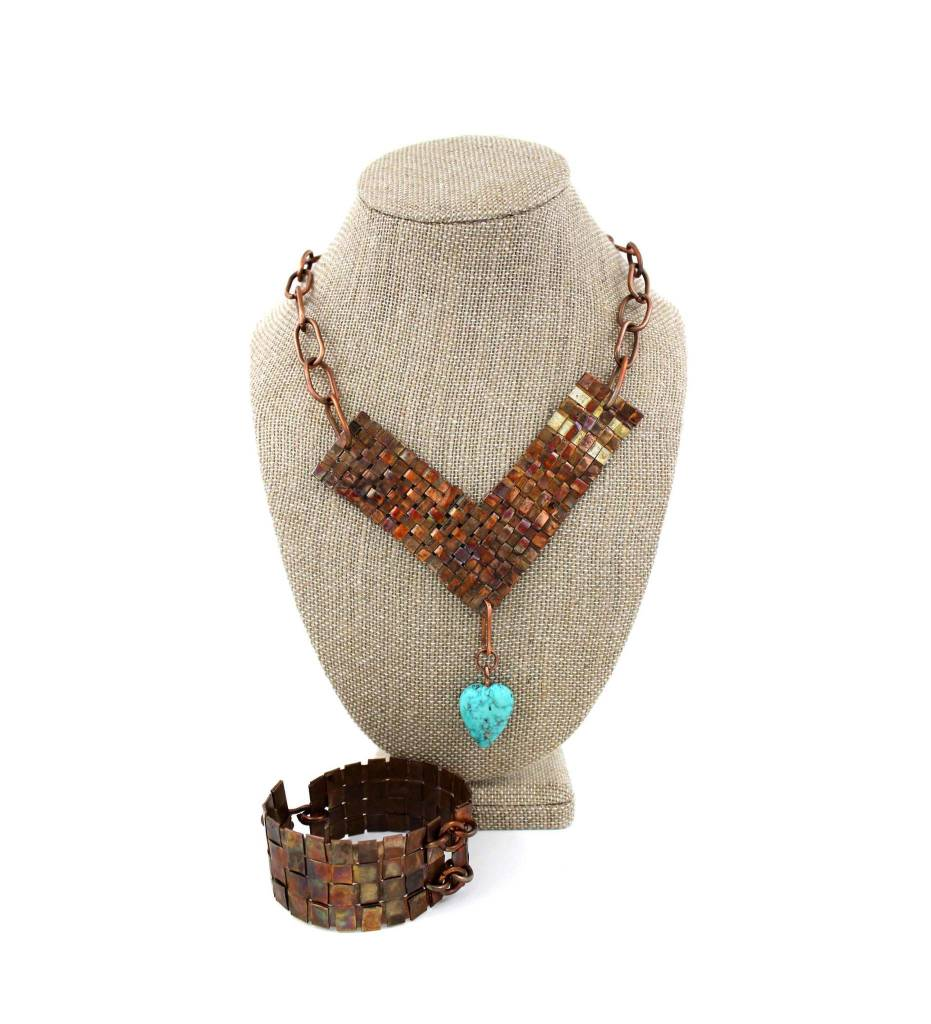 *JA Bracelet & Necklace Copper Set