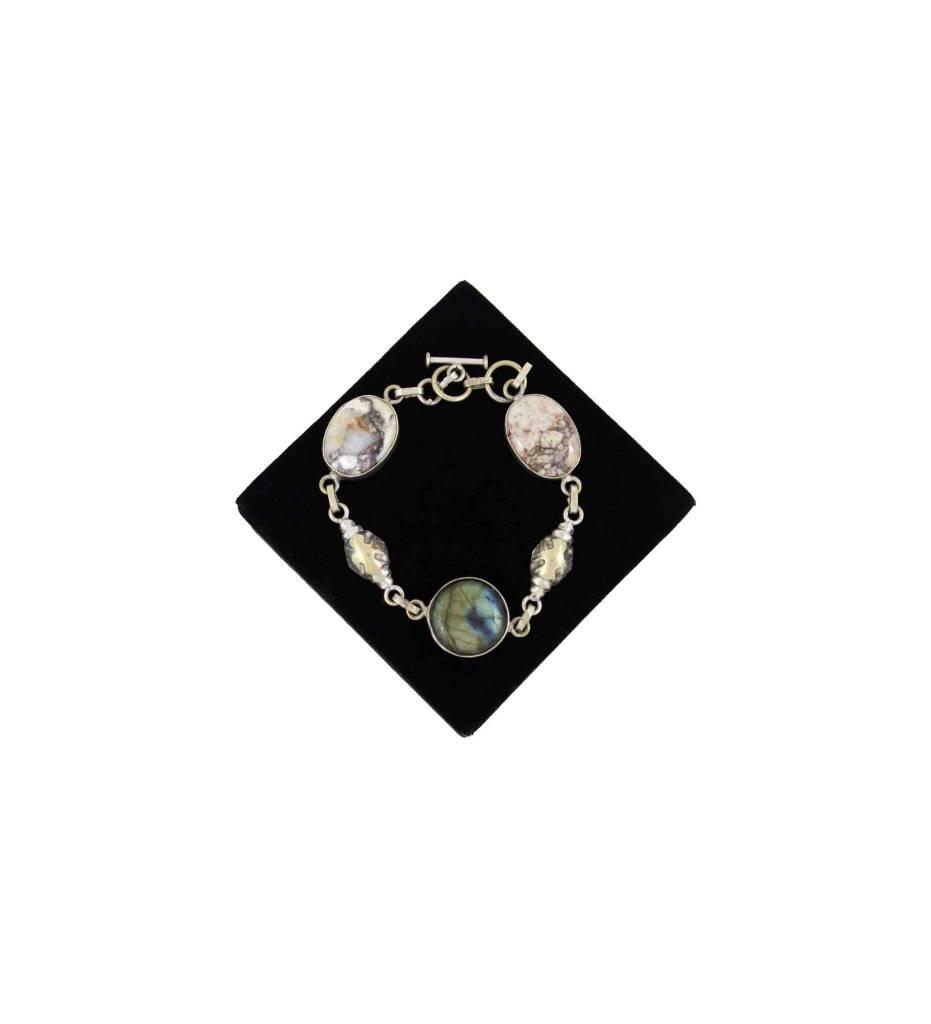 *JA 3 - Oval Stone & Silver Bracelet