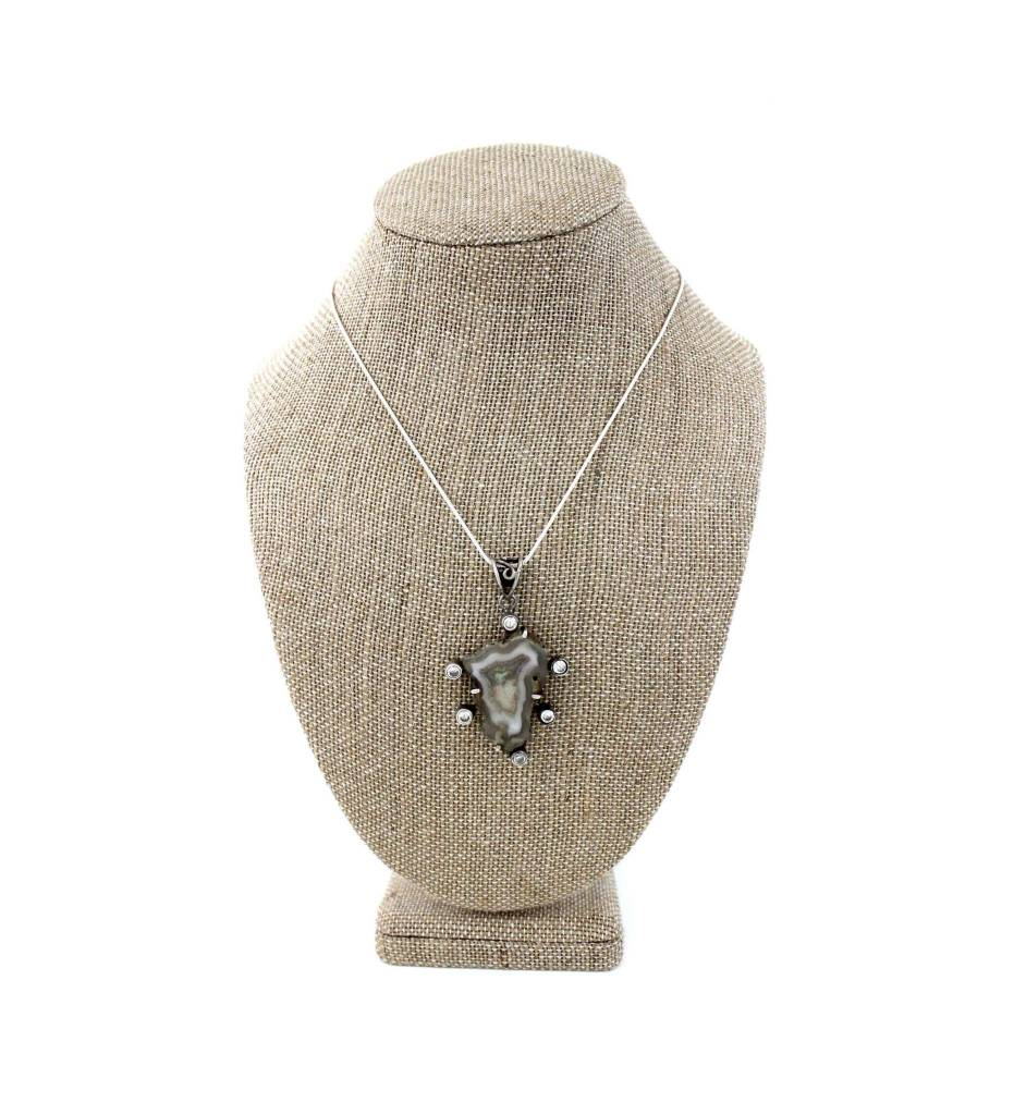 *JA Stone Pendant with Silver Necklace