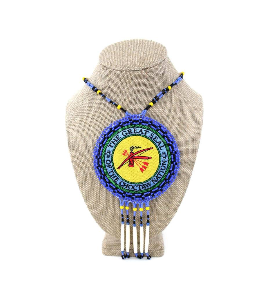 """SL """"CNO SEAL"""" Medallion with Blue, Black, Yellow & Bone Necklace"""