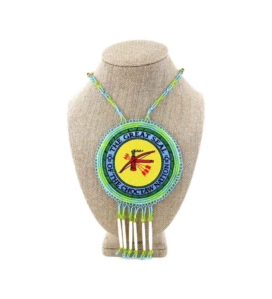 """SL """"CNO SEAL"""" Medallion with Light Green, Blue & Bone Necklace"""