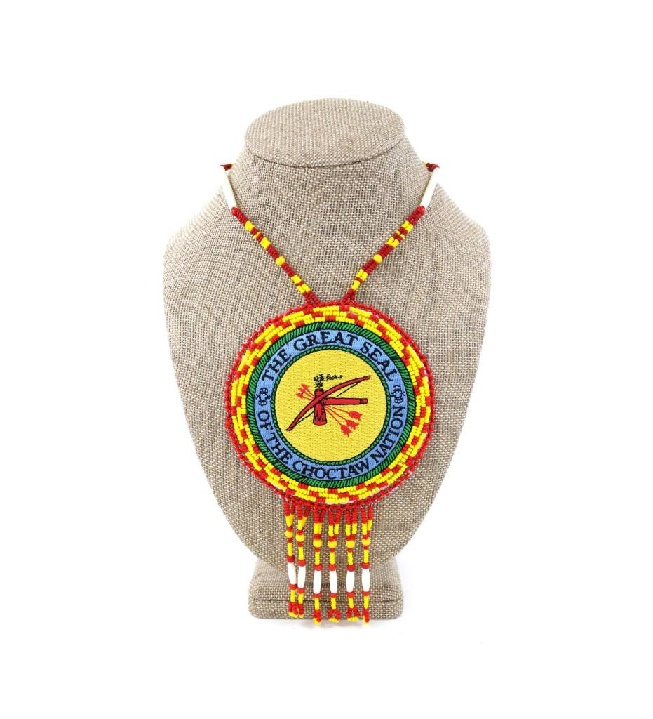 "SL ""CNO SEAL"" Medallion with Red, Yellow & Bone Necklace"