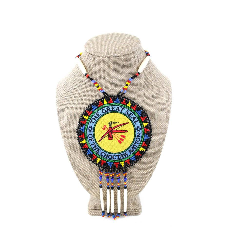 "SL ""CNO SEAL"" Medallion with Red, Yellow, Black, Blue & Bone Necklace"