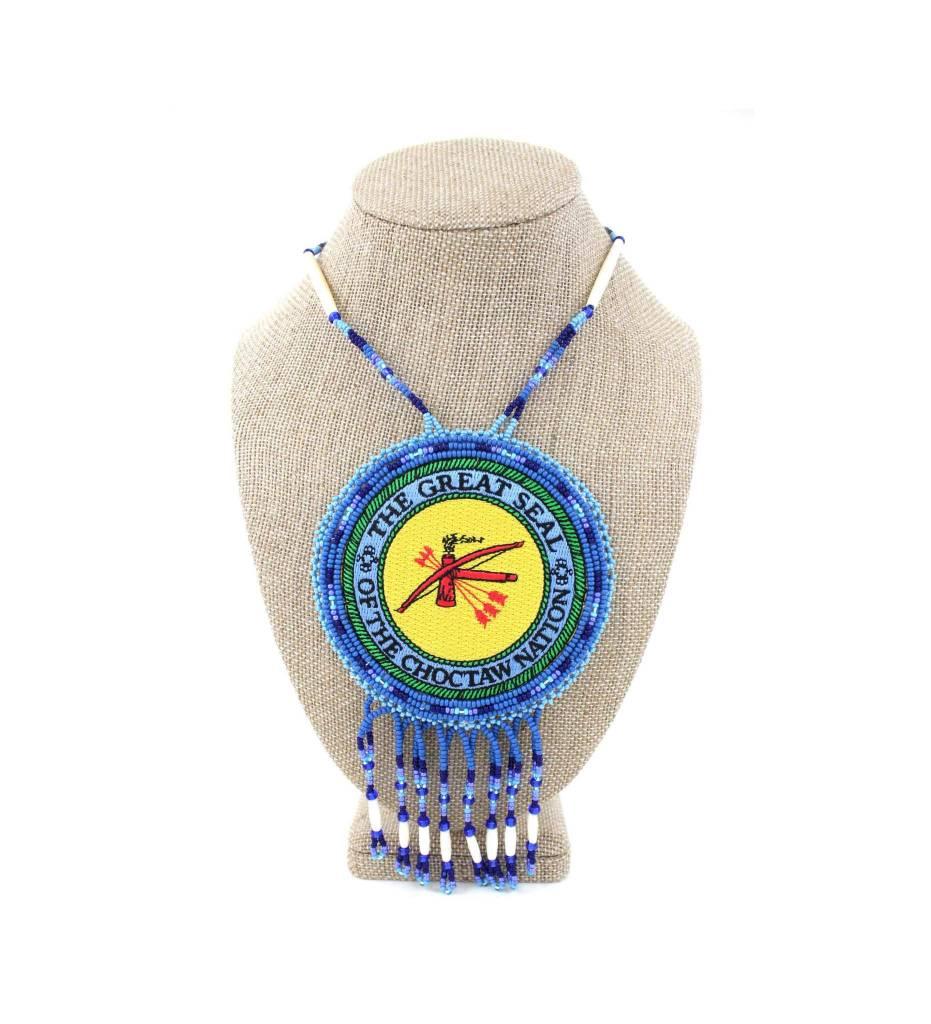 "SL ""CNO SEAL"" Medallion with Blue, Light Blue & Bone Necklace"