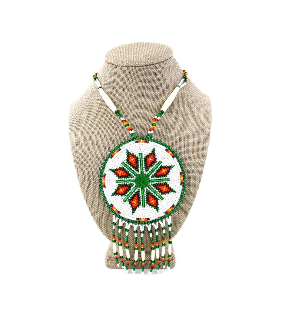 SL Green, White, Orange Diamond Designs Medallion Necklace