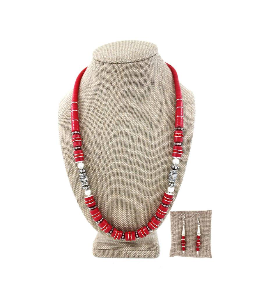 SL Red & Silver Beaded Necklace & Earrings Set