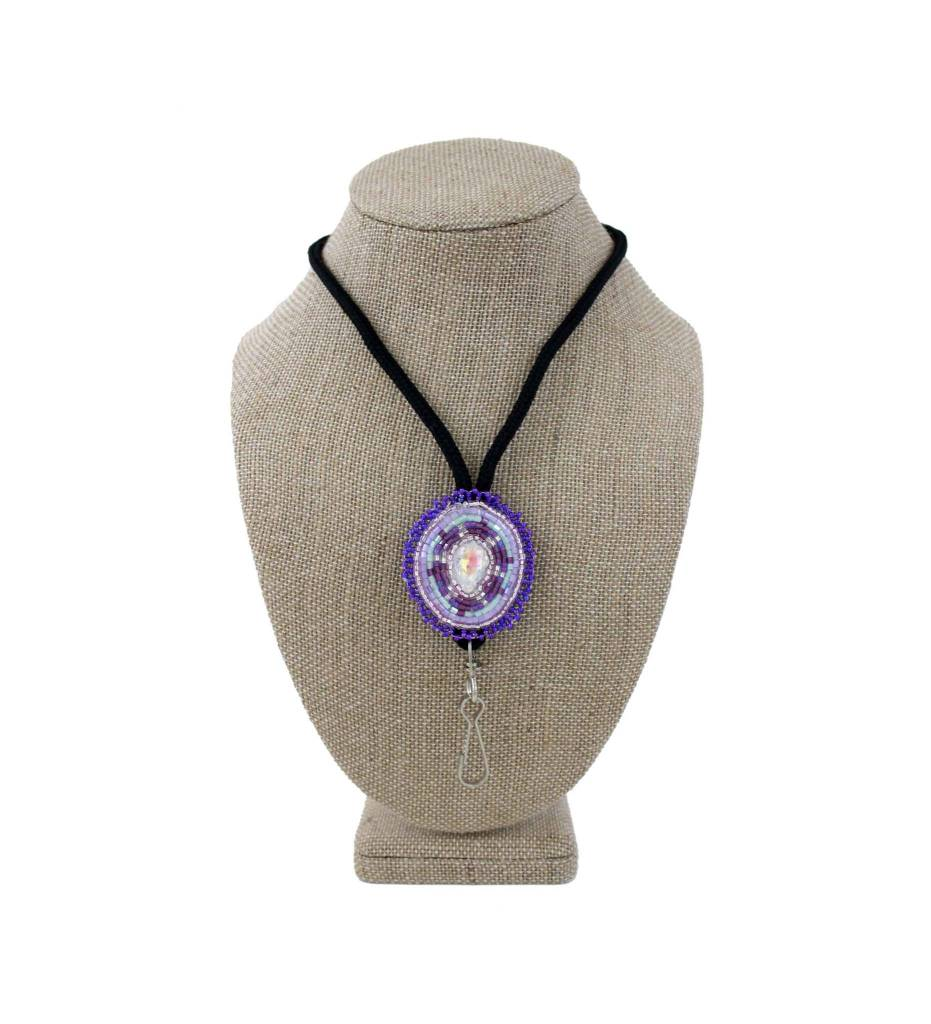 SL Purple Beaded Medallion Lanyard