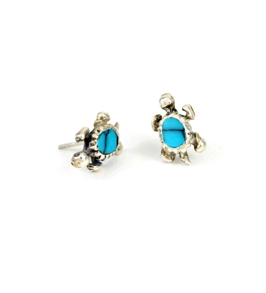 JL Sterling Silver Turtle with Turquoise Stone Post Earrings