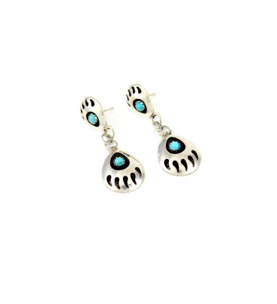 "JL Sterling Silver Double ""Bear Claw"" with Turquoise Stone Post Earrings"
