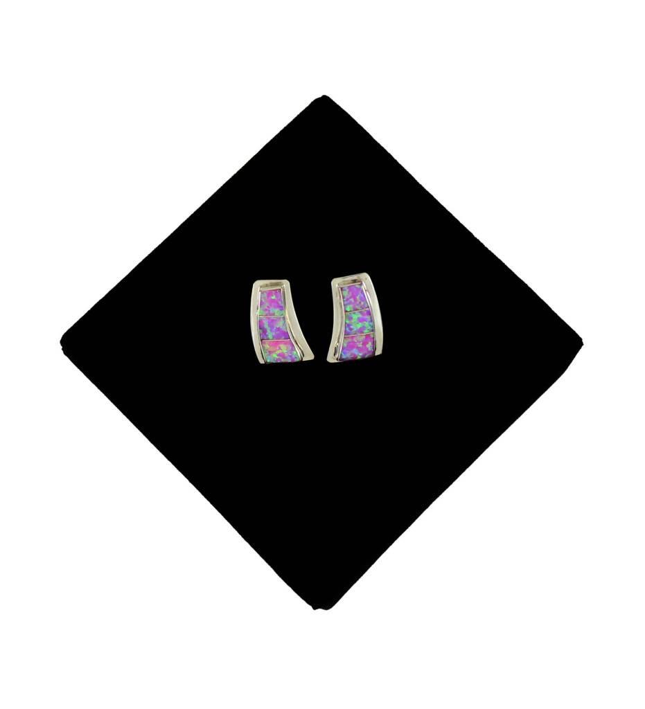 JL Sterling Silver Pink String Stud Earrings