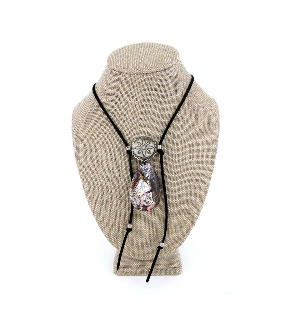 *JA Agate & Vintage Concho with Black Leather Necklace