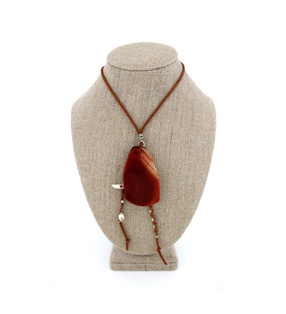 *JA Brown Agate Stone with Brown Leather Cord Necklace