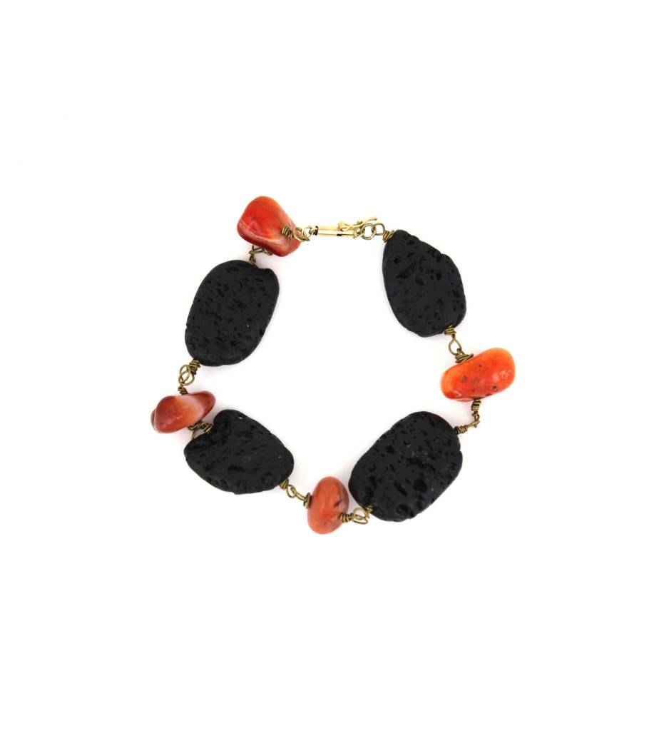 *JA Orange & Black Stones Bracelet