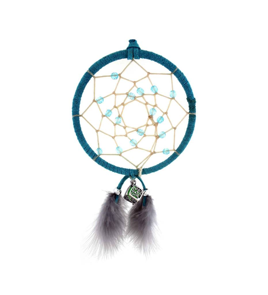 "*BD 4"" Blue with Tan Web & Blue Beads Fragrance Dreamcatcher"