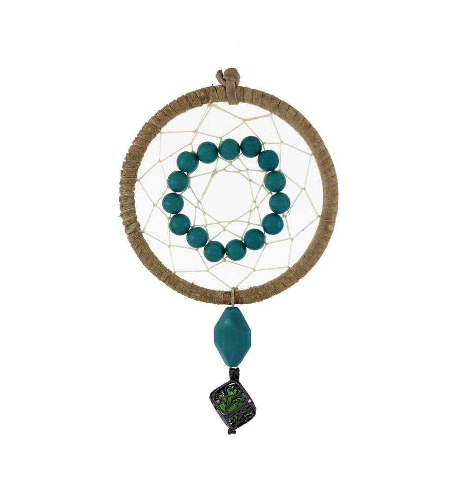 "*BD 3"" Tan with Tan Web & Blue Beads Fragrance Dreamcatcher"