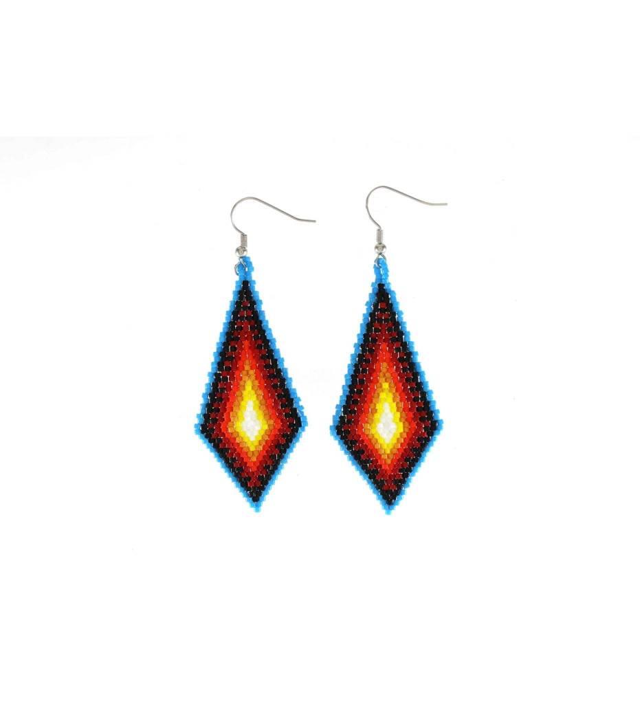 *TC Blue, Black, Orange, Yellow Beaded Diamond Shape Earrings