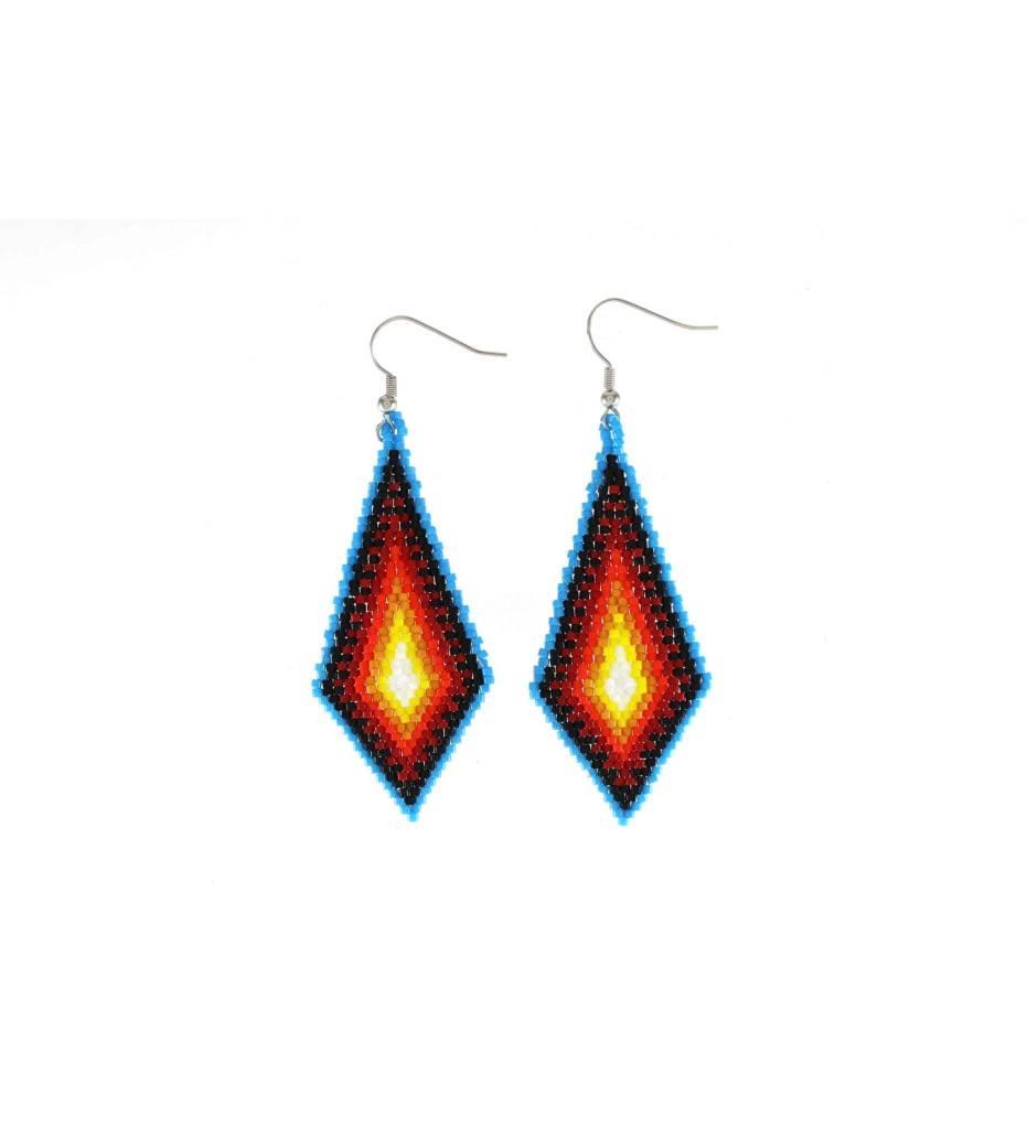 *TMC Blue, Black, Orange, Yellow Beaded Diamond Shape Earrings
