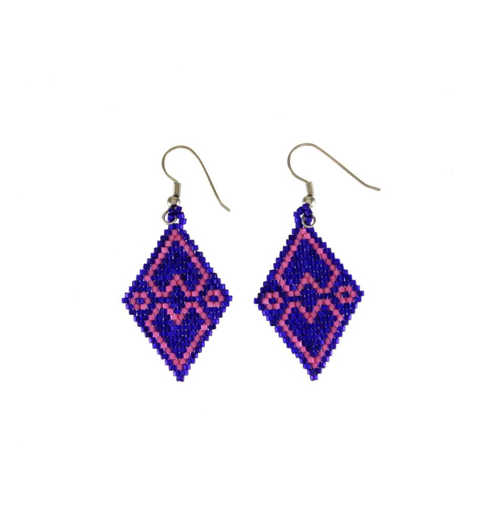 *TC Purple & Pink Beaded Earrings